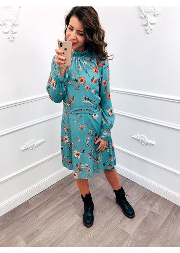 Cute Flower Dress Aqua Blue