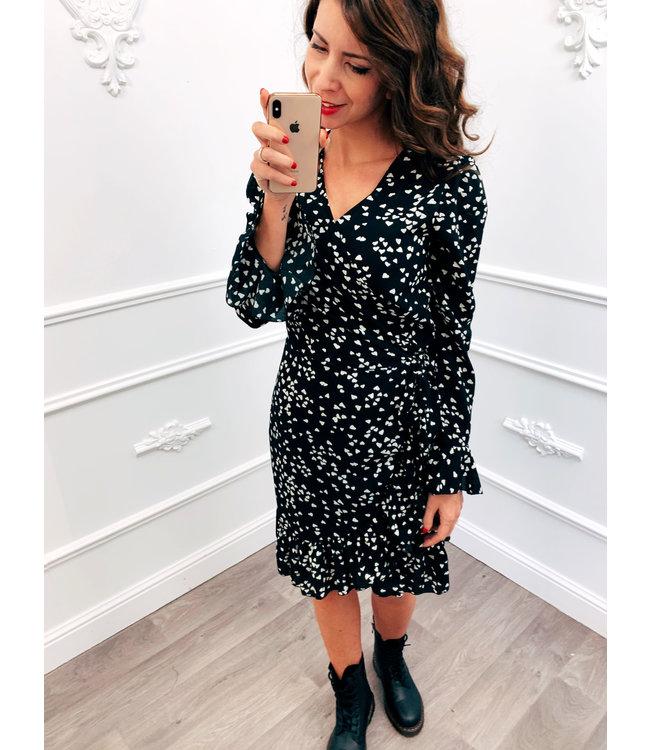 Wrap Dress Zwart/Wit