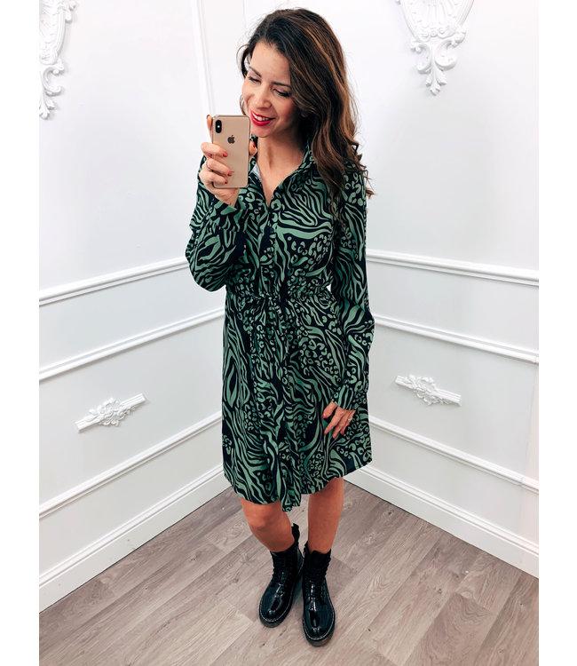 Blouse Dress Print Groen