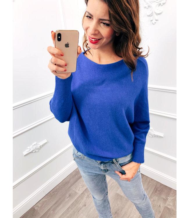 Wing Sweater Kobalt Blauw