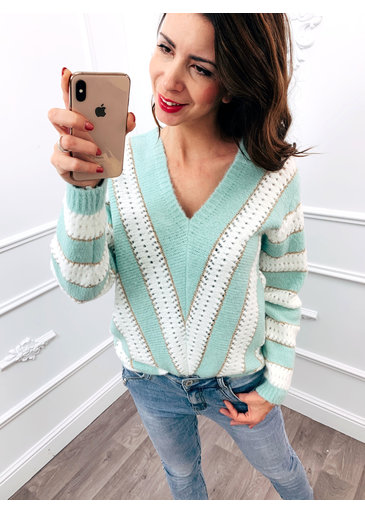 Line Up Sweater Mint Groen
