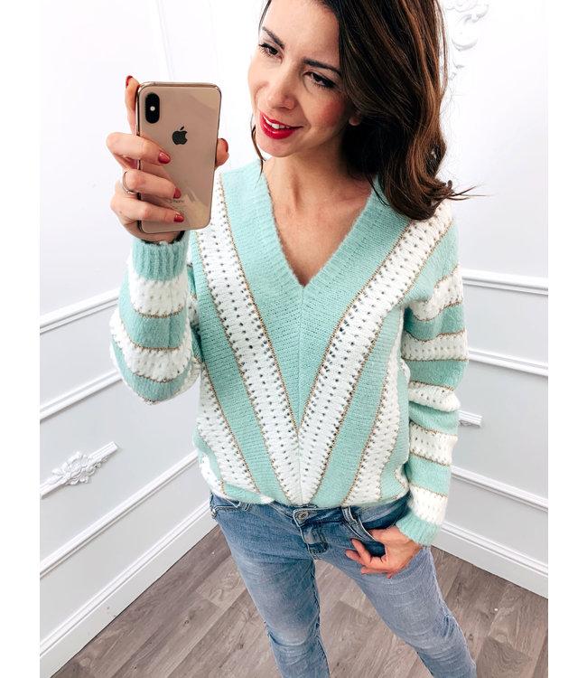 Line Up Sweater Mint Groen