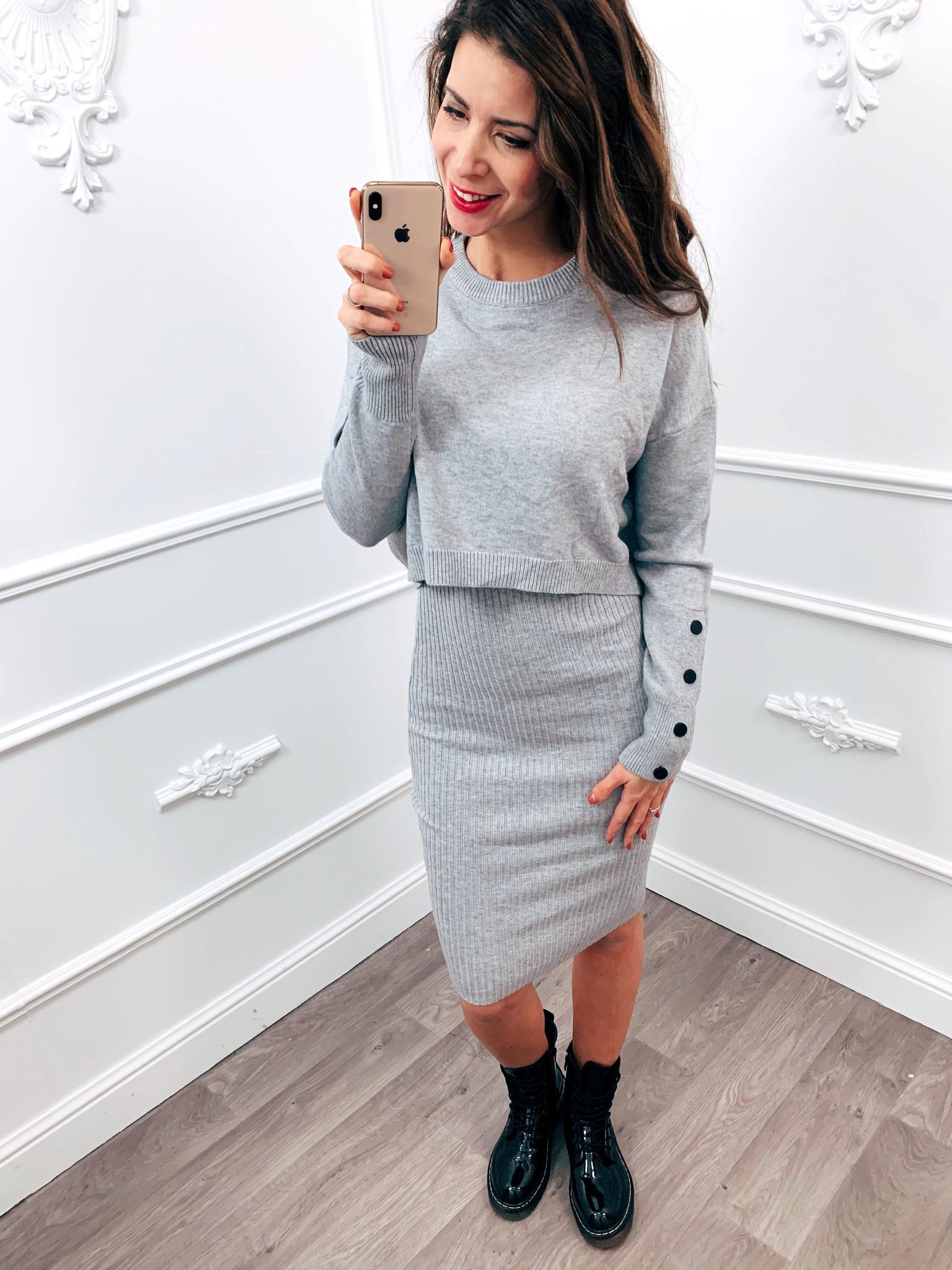Comfy Sweater Dress Grijs