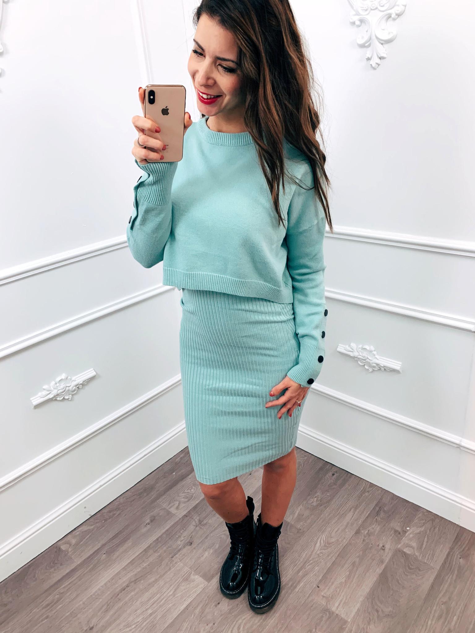 Comfy Sweater Dress Mint Groen