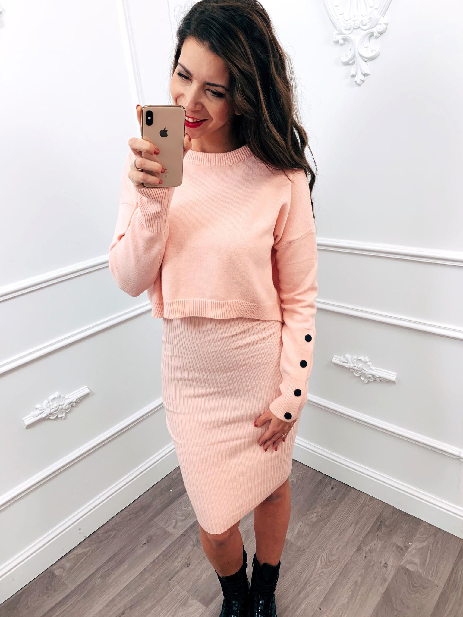 Comfy Sweater Dress Roze