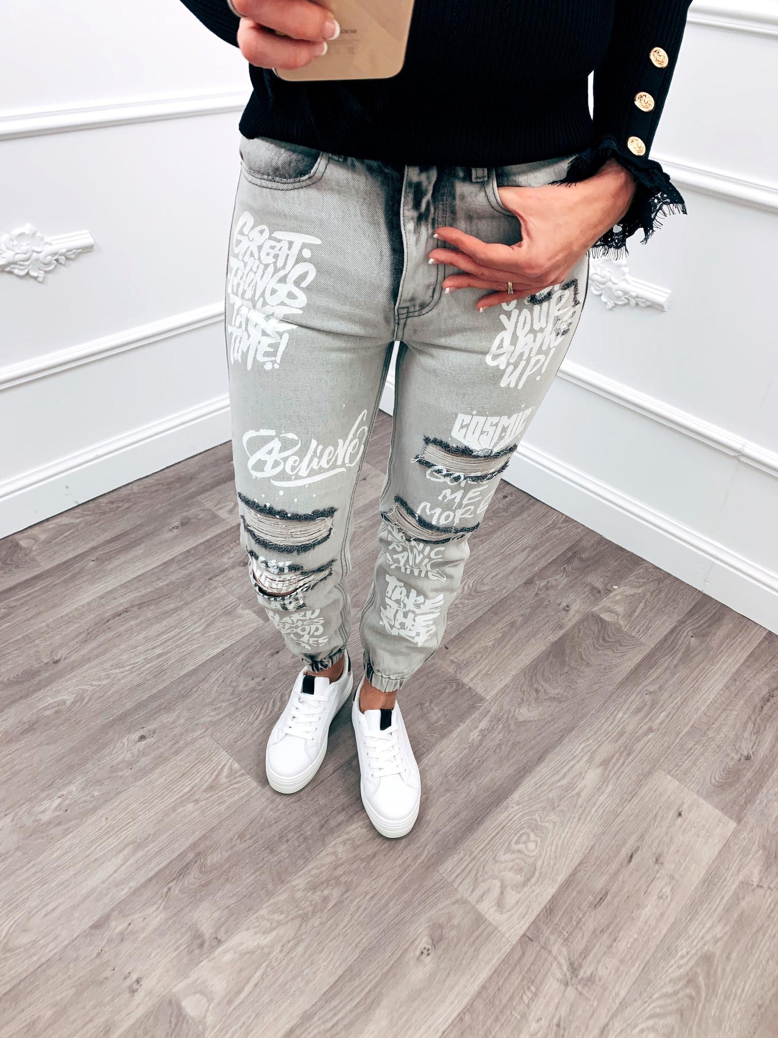 Letter Jeans Boyfriend Fit Grey