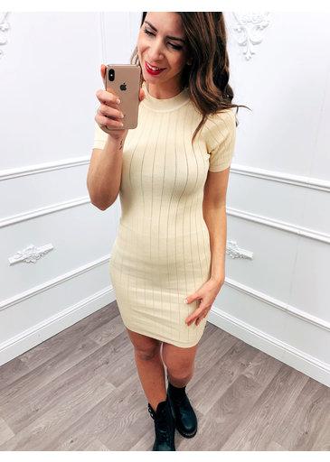 Stretch Button Dress Beige