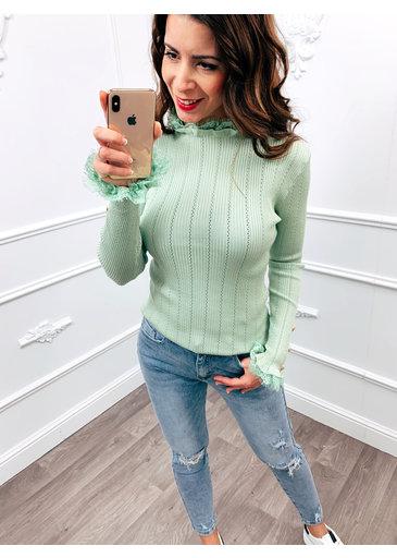 Ruffle Lace Top Mint Groen