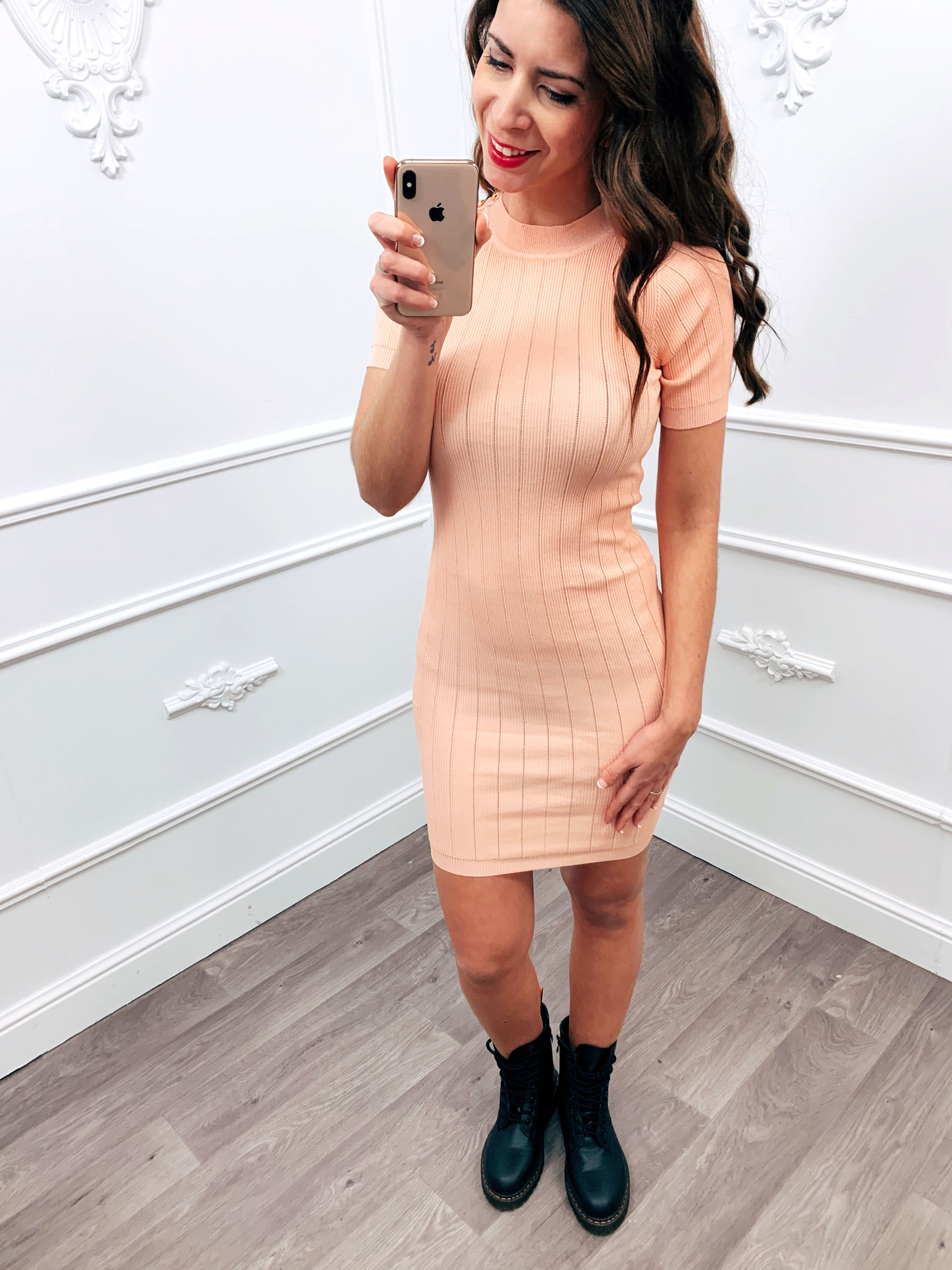 Stretch Button Dress Roze