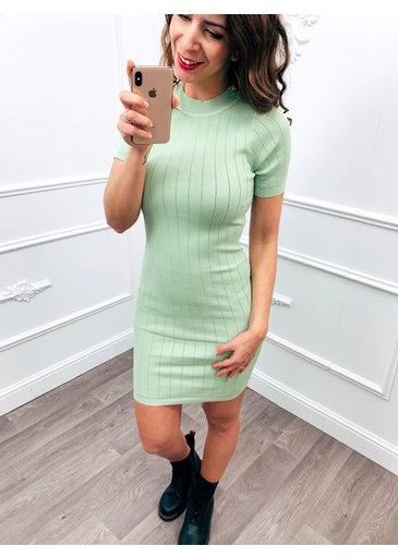 Stretch Button Dress Mint Groen