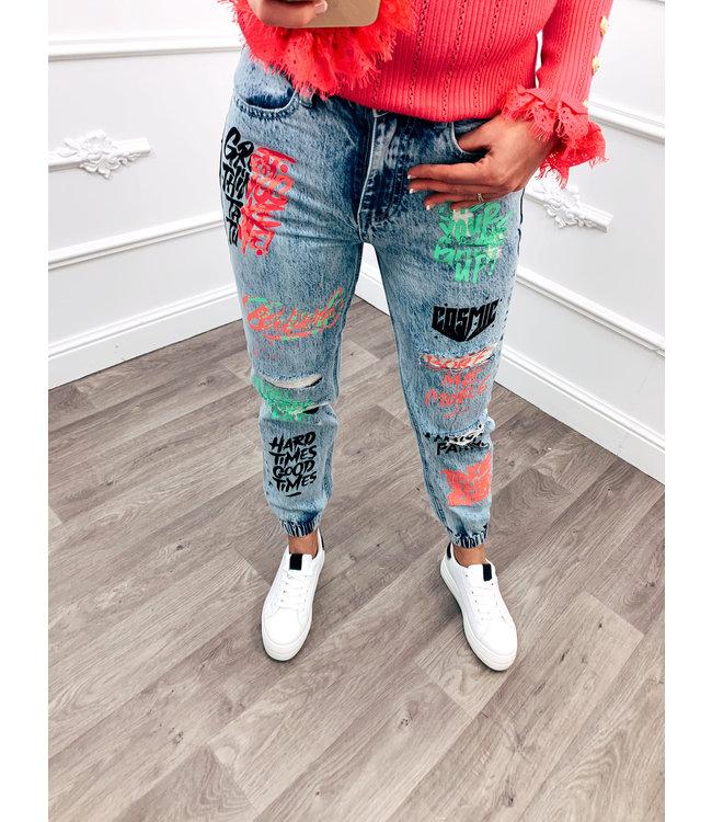 Letter Jeans Boyfriend Fit Colour