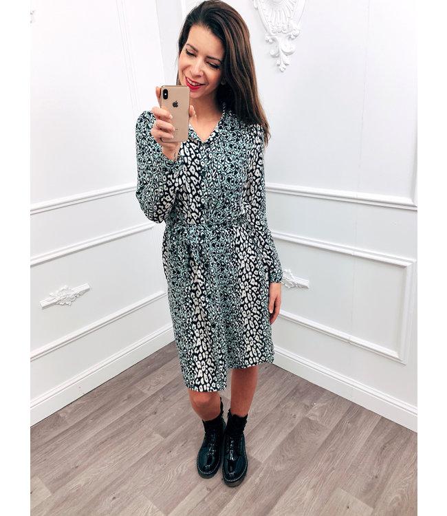Cheetah Blouse Dress Mint Groen