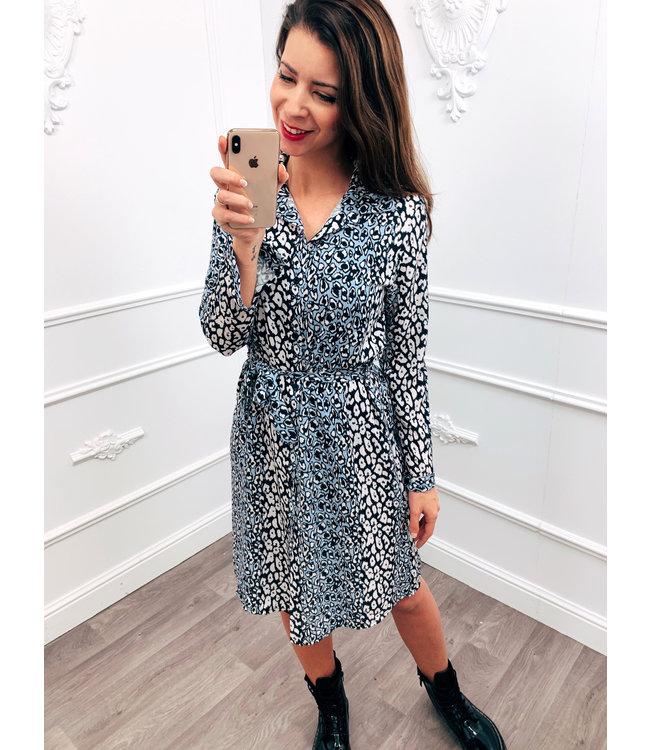 Cheetah Blouse Dress Blauw
