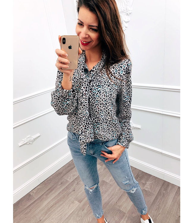 Strik Blouse Cheetah Mint Groen