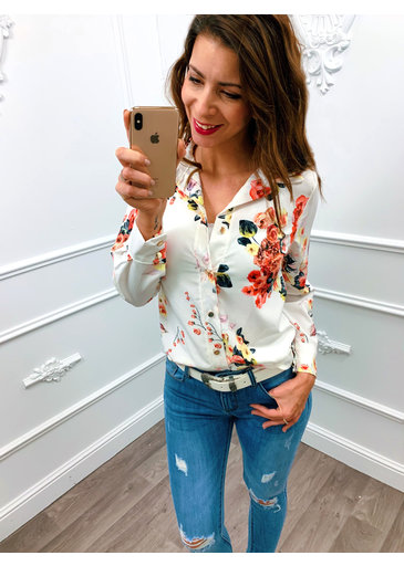 Flower On Blouse Wit