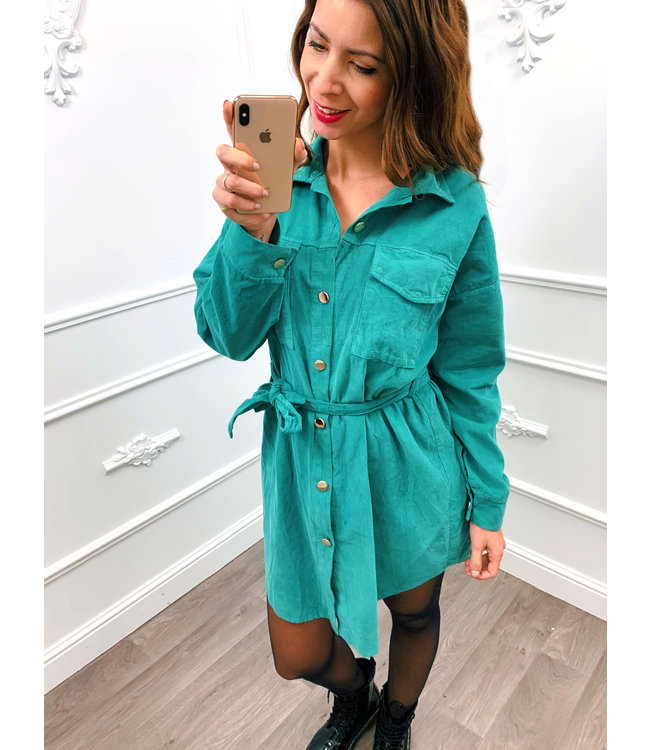Rib Blouse Dress Turquoise