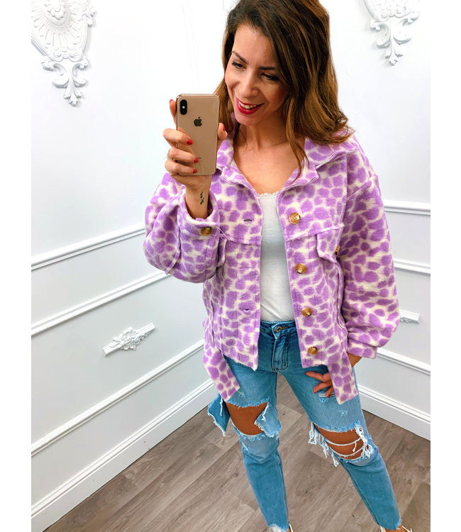 Trendy Panter Jacket Lila