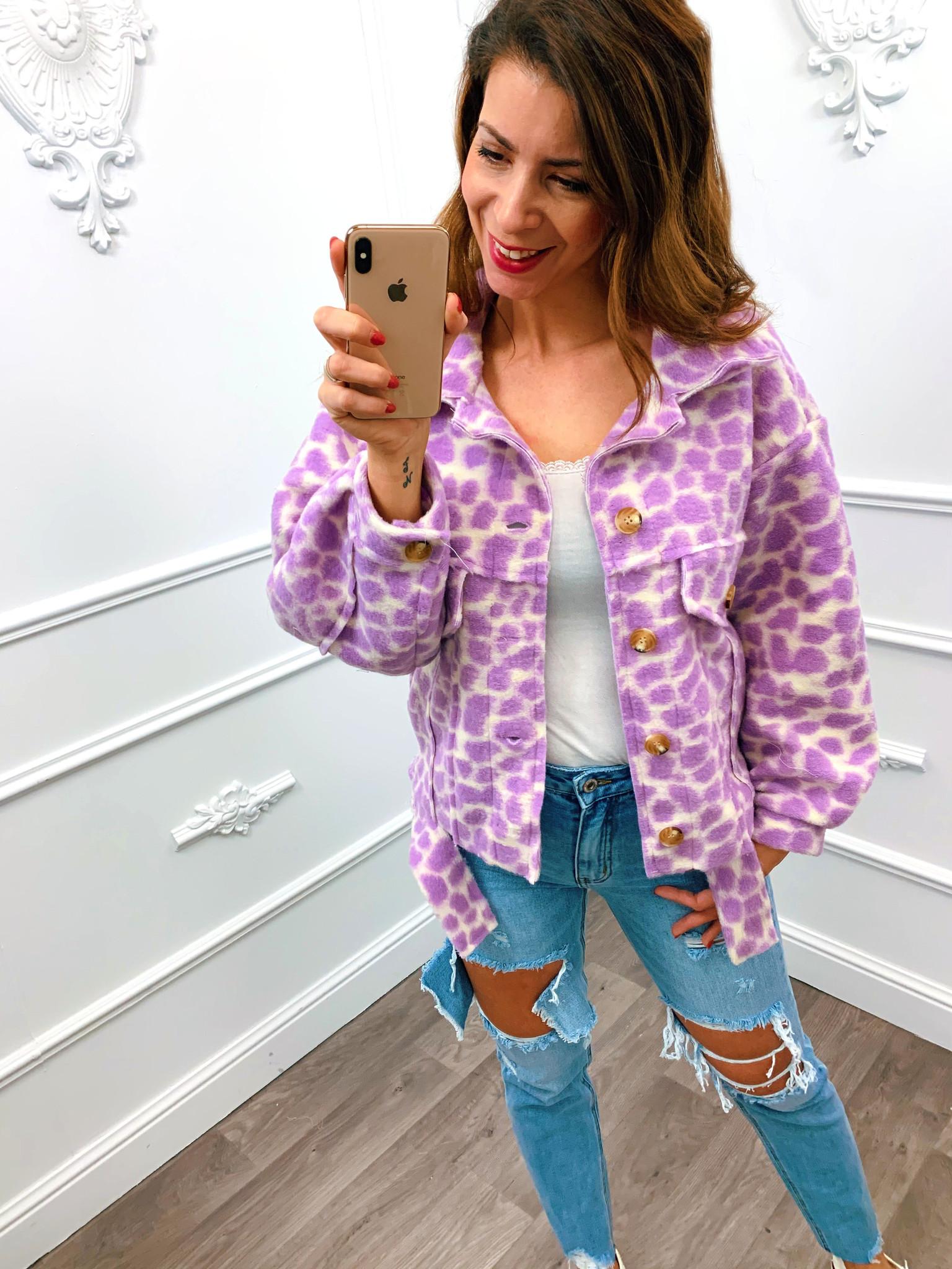 Trendy Panter Jacket Lila