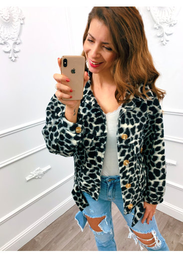 Trendy Panter Jacket Zwart