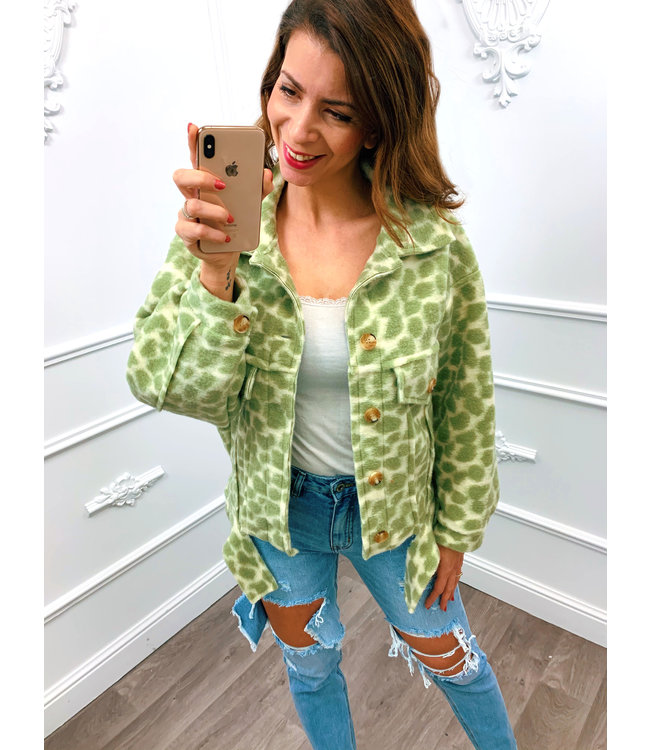 Trendy Panter Jacket Groen