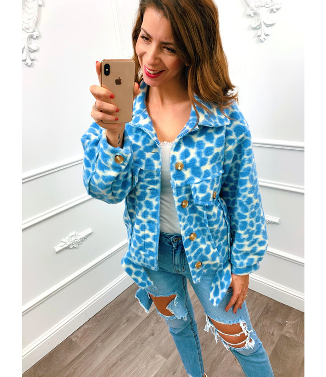 Trendy Panter Jacket Blauw