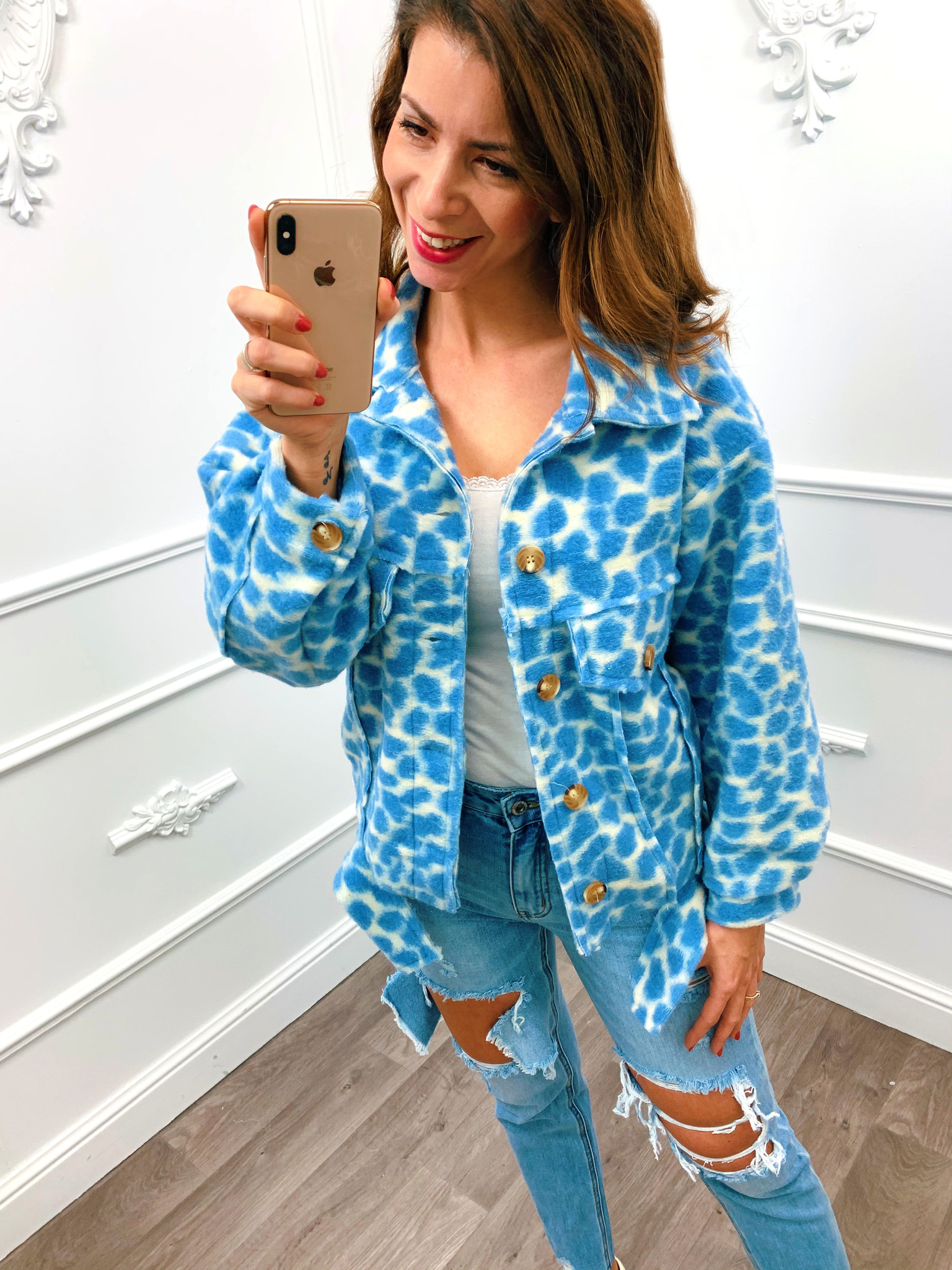 Trendy Panter Jacket Blauw