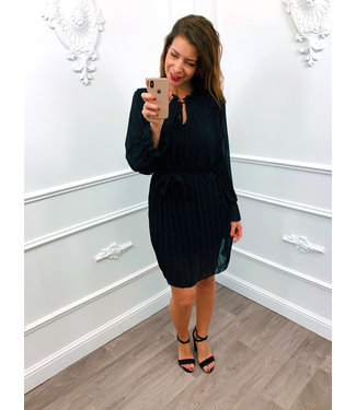 Plooi Ceintuur Dress Zwart