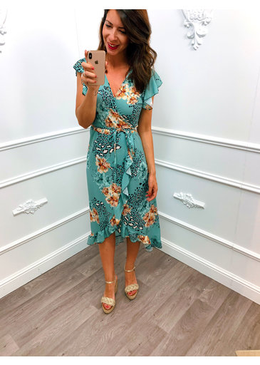 Wrap Dress Flower Summer Mint