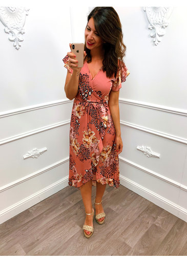 Wrap Dress Flower Summer Roze