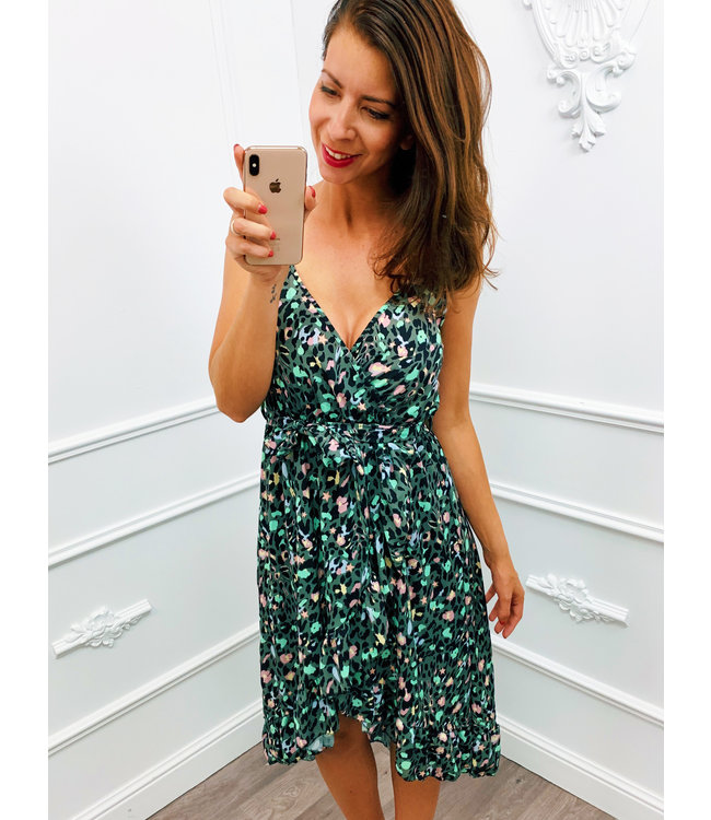 Midi Colour Panter Dress Groen