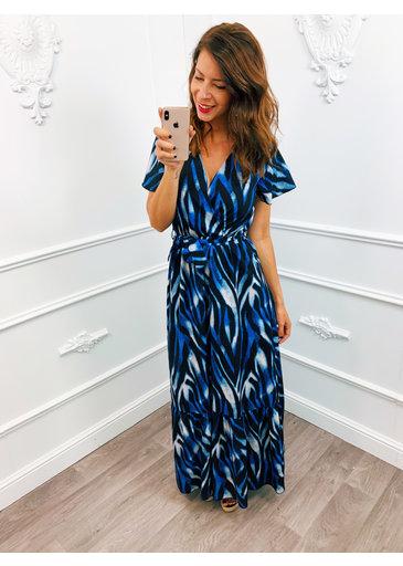 Stripe Dress Lang Kobalt