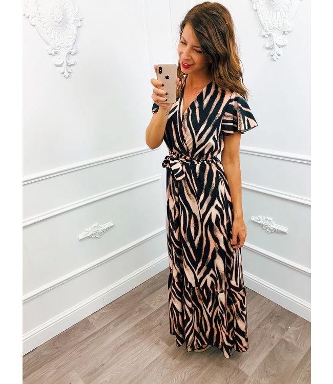 Stripe Dress Lang Roze