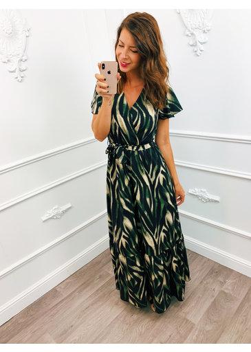 Stripe Dress Lang Groen