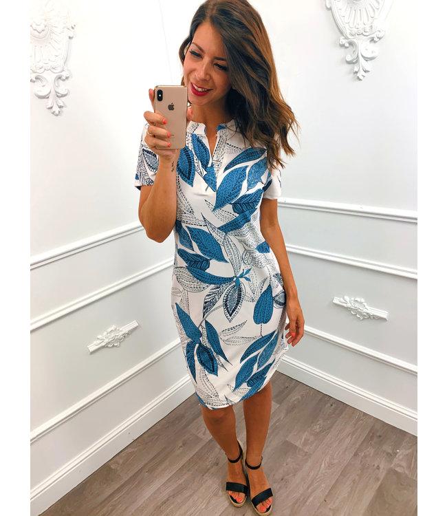 Loose Leaf Dress Blauw