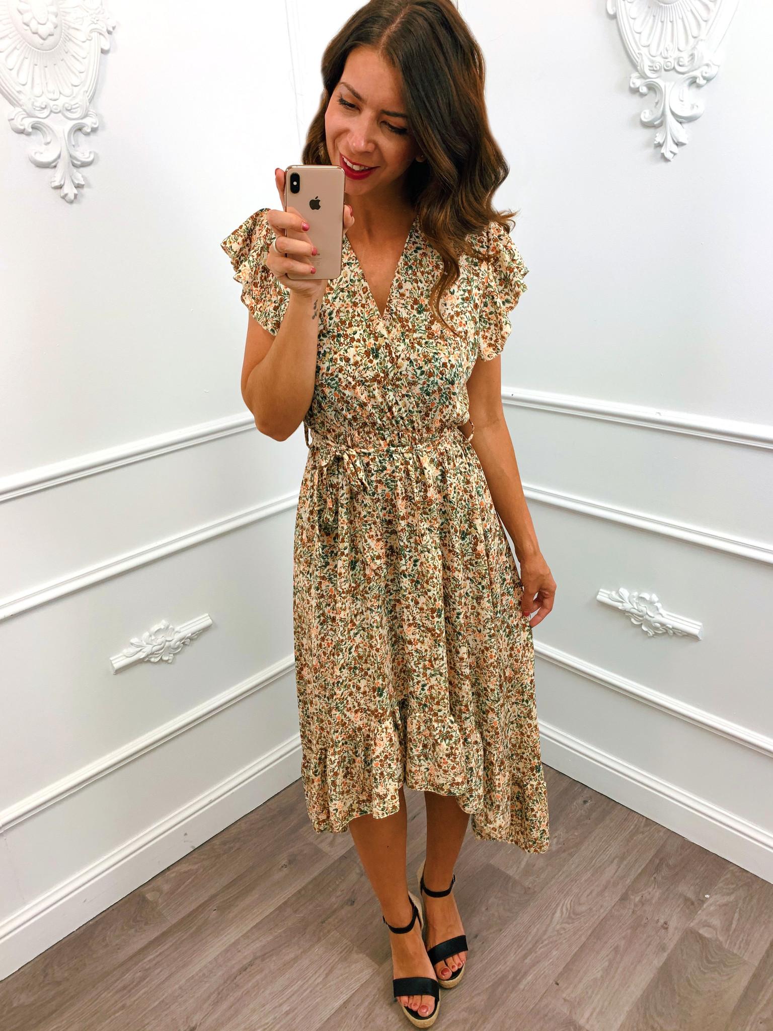 Perfect flower Maxi Dress Beige