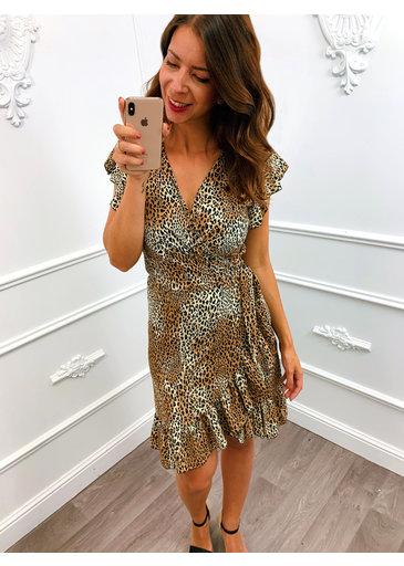 Leopard Wrap Dress Bruin
