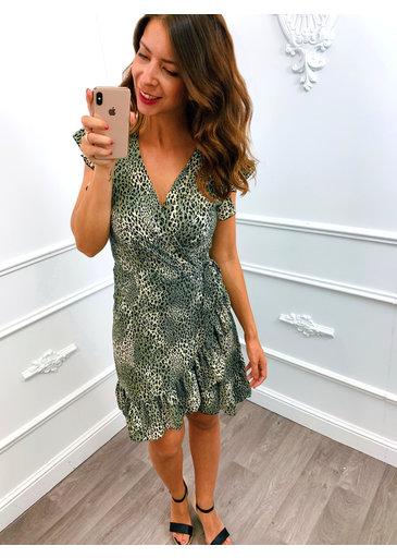Leopard Wrap Dress Groen