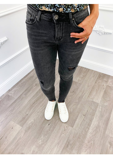 Open Rip Jeans Grijs