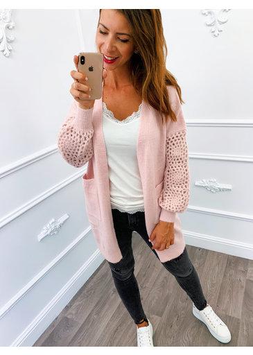 Vest Open Knitted Roze