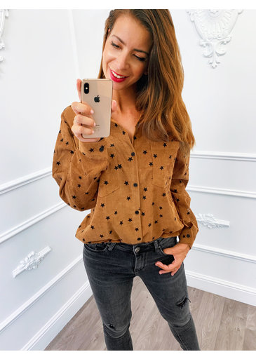 Star Rib Blouse Terracotta