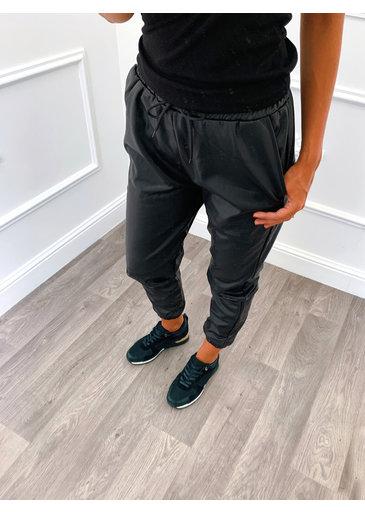 Leather Jogging Broek Zwart