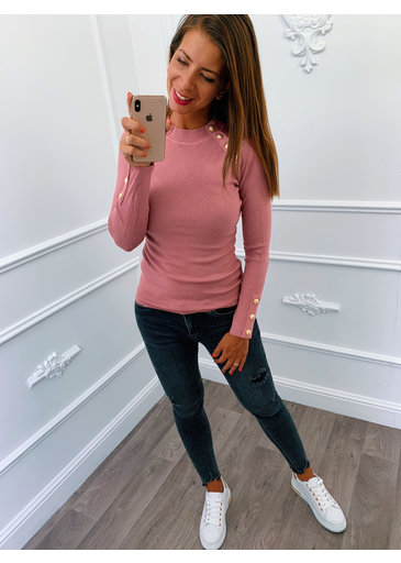 Chique Button Top Roze