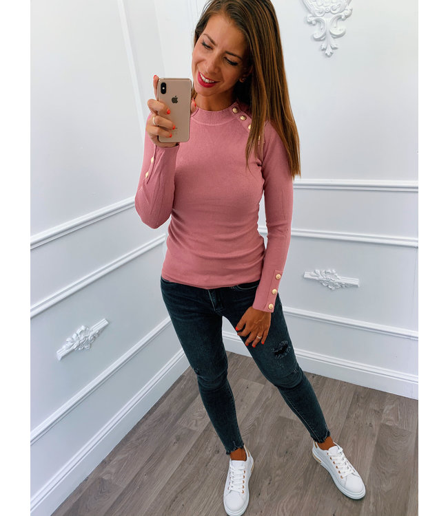 Chique Button Top Roze