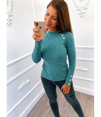Chique Button Top Turquoise