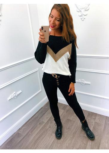 Golden Line Sweater Zwart