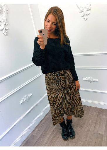 Zebra Ruffel Rok Camel