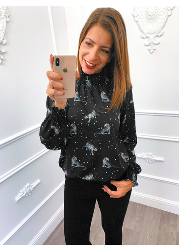 Cheetah Star Blouse Zwart