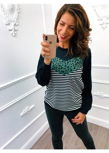 Cheetah Streep Sweater Groen