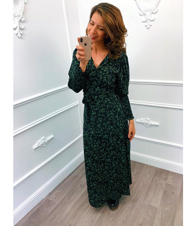 Leaf Wrap Dress Groen