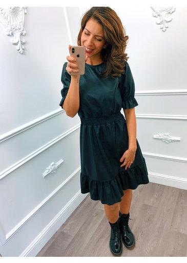 Leather Look Dress Zwart